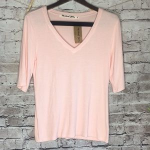 Cotton candy pink v neck ribbed Michael stars top